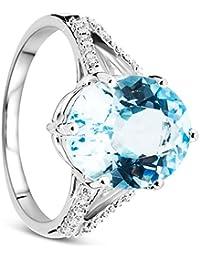 Orovi Damen Weißgold Verlobungsring Diamanten mit Blautopas Solitärring Diamantring 9 Karat (375) Brillianten 0.06carat Topas 5.57carat mit 16 Diamanten
