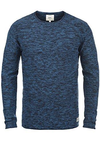 REDEFINED REBEL Millard Herren Strickpullover Feinstrick Pulli mit Rundhals-Ausschnitt aus 100% Baumwolle Meliert True Navy w. Navy