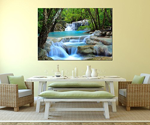 wandmotiv24 Wandbild Wasserfall im Wald Aludibond - L - 100x70cm (BxH) Foto-Geschenk, Acrylbild, Dekoration Wohnung WB0485