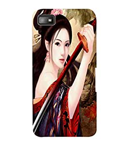 ColourCraft Warrior Girl Design Back Case Cover for BLACKBERRY Z10
