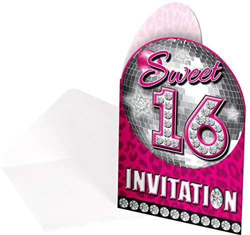 Folat Einladungskarten Girly Sweet Sixteen 8er Pack