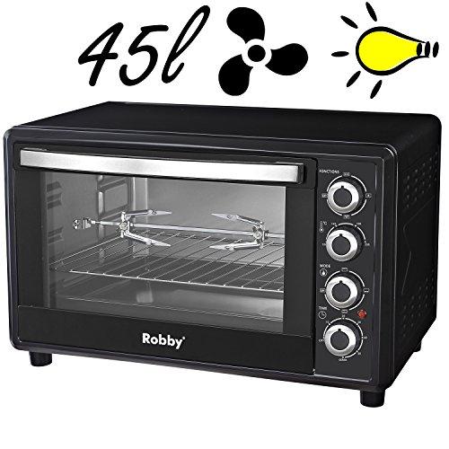 Four multifonction chaleur tournante 45l 2000w noir 55 x 36,5 x 41,5 cm - Robby - oven 45l