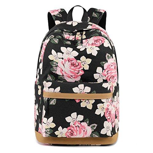 Neuleben Rucksack Schulrucksack mit Blumenmuster USB Port für Damen Mädchen Rucksäcke Daypack Schultasche 15,6 Zoll Laptop Rucksack (Schwarz)