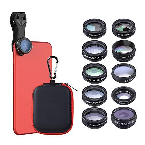 JIANG BREEZE Fisheye-Telefonobjektiv, 0,63-Fach-Weitwinkelobjektiv 15-Fach-Makroobjektiv 198 ° Fisheye-Objektiv 10-in-1-HD-Kameraobjektivset 95% oder mehr Mobiltelefone, Tablets usw.