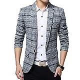 BiSHE Mens Plaid Baumwolle Mischung Tweed Blazer Mantel Smart formales Abendessen Anzüge Jacket Men