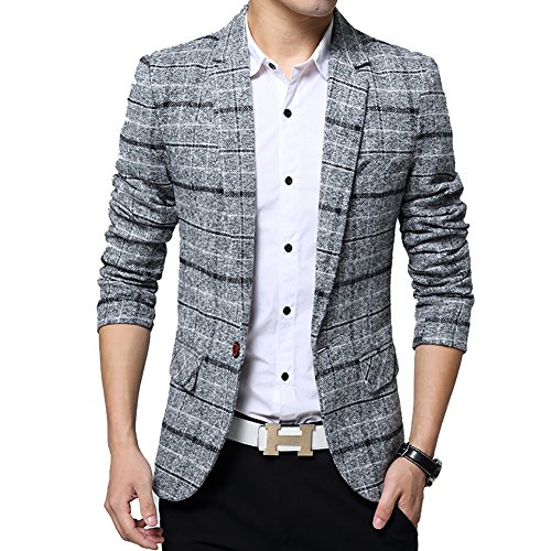 BiSHE Mens Plaid Baumwolle Mischung Tweed Blazer Mantel Smart formales Abendessen Anzüge Jacket Men (Mischung Anzug)