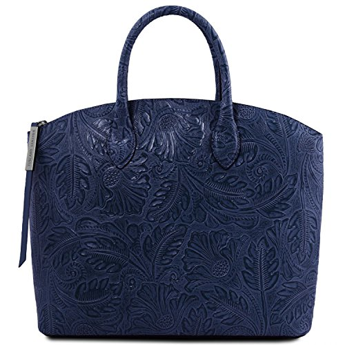 Tuscany Leather Gaia Borsa shopper in pelle stampa floreale Nero Blu scuro