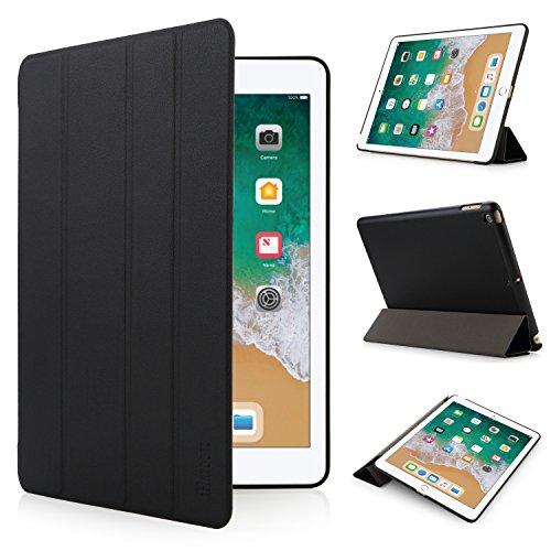 iHarbort iPad 9,7 2018/2017 Hülle Schlau PU Leder Tasche Hülle Etui Schutzhülle Ständer Smart Cover iPad 9.7 Zoll (2017 und 2018 veröffentlicht), mit Schlaf/Wach-up-Funktion, Schwarz