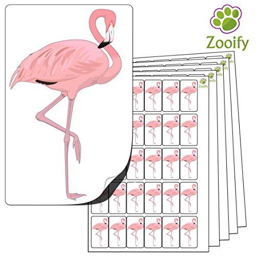 480 x Aufkleber - Flamingo (38 x 21 mm). Hochwertige selbstklebende Etiketten mit Tiermotiv von Zooify.