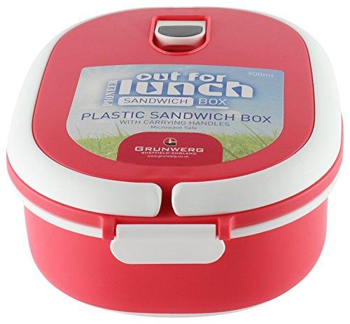 Pioneer Fläschchen rechteckig, Kunststoff Lunch Sandwich Box Lebensmittel Tub Air Tight Tupperware Behälter, plastik, rot, 20 x 15 x 8 cm