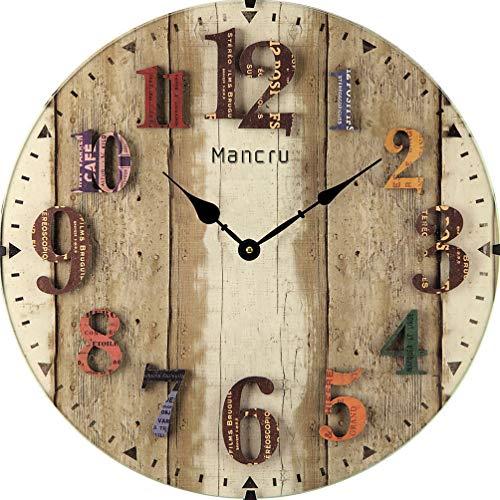 Mancru 1cm spessore vintage no cover silenzio orologio da parete shabby in legno grande rotondo non ticchettio quiet quarzo orologio da parete decorazione orologio da parete 10-40cm