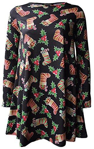 Kleid Kostüme Cherry (Neu Frauen Weihnachten Elfe Drucken Flared Skater Schaukel Kostüm Kleid 36-54 (52-54, Black Cherry Socks)
