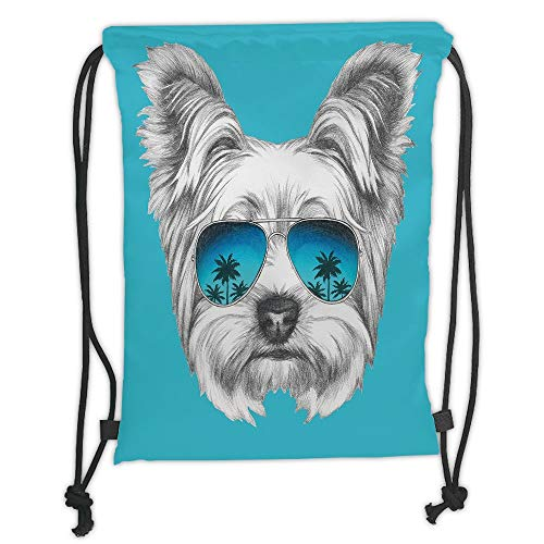 LULUZXOA Gym Bag Printed Drawstring Sack Backpacks Bags,Yorkie,Yorkshire Terrier Portrait with Cool Mirror Sunglasses Hand Drawn Cute Animal Art,Blue White Soft Satin,