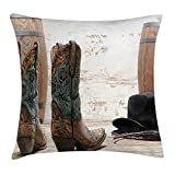 JIEKEIO Western Throw Pillow Cushion Cover, American Rodeo Theme Cowgirl Design Leather Boots Fancy Hat Rustic Picture, Decorative Square Accent Pillow Case, 18 X 18 Inches, Brown Teal Black