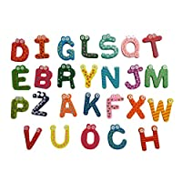 26pcs Alphabet A-Z Magnets Fridge Stickers, Fat.chot Wooden Cartoon Colourful Letters DIY Educational Toys Decoration Develop Intelligence&Literacy Skills Special Gift for Kids Toddlers