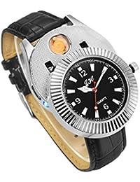Ckeyin ® 2en1 Montre et Briquet - Montre-bracelet à quartz avec USB électronique rechargeable sans flamme allume-cigare coupe-vent(Noir)