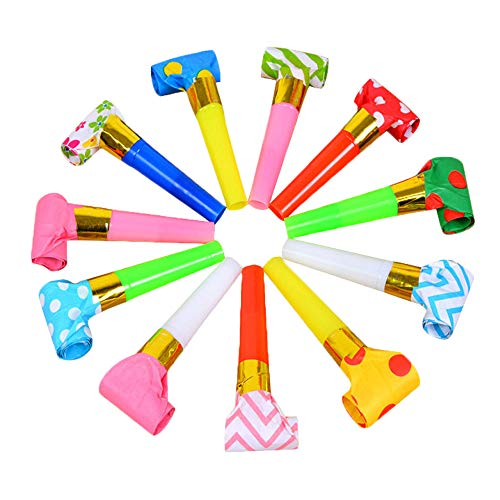 SWECOMZE 100PCS Kunststoff Pfeife,Farbig Gemischt,Party Noisemakers Musik Blowouts Whistles Toys