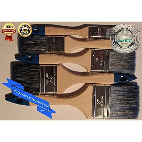 Chalk Paint # FB5SHABBY CHIC pennello piatto professionale progettato per vernici waterbased e gesso–Set di 5pennelli, 76mm
