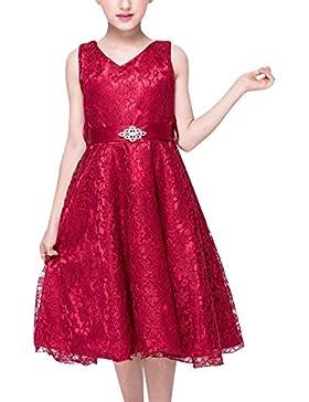 Niña Niños Vestido Elegante sin Mangas Falda del Cordón del Tutú para Fiesta del Vestido de Boda
