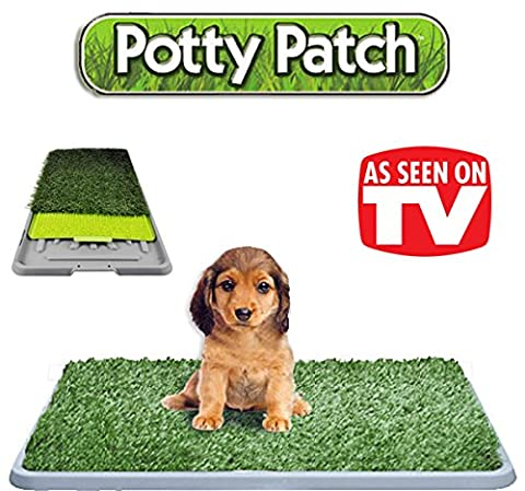 The Original Potty Patch–Litter In Artificial Grass Dog Toilet Mat for Puppies–Replaces Absorbent Cleaning Cloths - Odour Control Anti-bacterial –For Dogs up to 7kg–Large 70x 44x