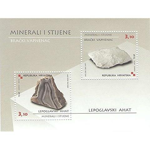 Sheetlet croata de minerales y rocas de Croacia - 2 sellos hoja emitió 2010 - Scott # 784 / Croacia /