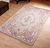 Tapis chinois en laine fait main Motif traditionnel Aubusson 150 x 240 cm Beige...