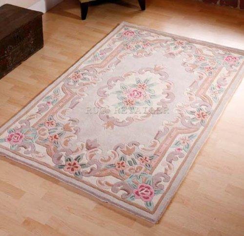 Chinesischer Teppich, Wolle, handgefertigt, traditionelles Aubusson-Design, 150 x 240 cm, Beige (Chinesische Teppich)