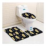 HONGYUANZHANG Großes Gesicht Katze Und Fisch-Muster Wc-Bodenmatte Wc-Sitz Dreiteilige Badezimmer Anti-Rutsch,35X45Cm/37.5X45Cm/45X75Cm