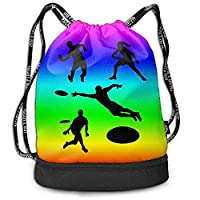 Bernie Dodd Drawstring Backpack Drawstring Bag Sport Gym Sackpack,Playing Ultimate Frisbee Silhouettes Rucksack,Gym Bag Sackpack Sports Backpack For Unisex