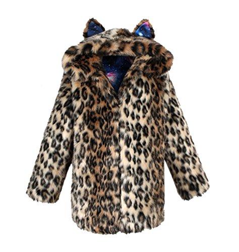 Yuandian donna inverno lungo pelliccia sintetica cappotti con cappuccio baggy morbido caldo elegante cappello dell'orecchio finta pellicce ecologica giubbotto leopardo xl