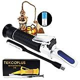 TekcoPlus Óptica Alcohol Refractómetro 0-80% Volumen Porcentaje ATC, para Alcohol Producción de Licor, Alcohol Medición, Etanol con Agua, Bebidas destiladas, Enólogos, con luz LED Adicional y pipetas