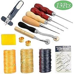 Juego de Herramientas de Costura de Cuero, 13piezas Herramientas de perforación de piel para Manualidades costura Punzón Reparación de Cuero Fabricación artesanal