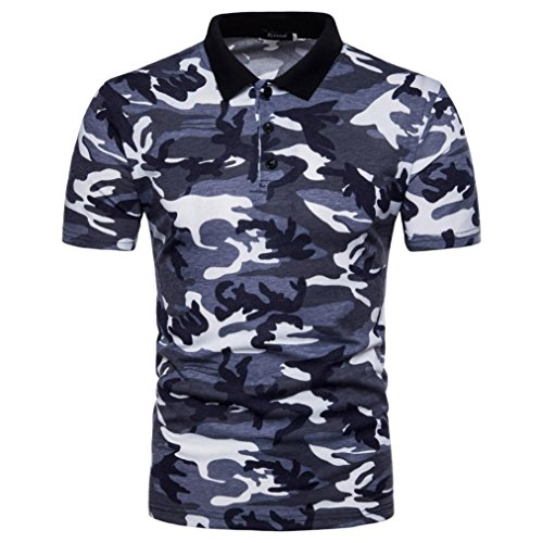 Slim Fit Herren Hemd Model ,LUCKYCAT Herrenhemd Herren Polo Shirt Lässig Camouflage Print Umlegekragen T-Shirt Top Bluse (Grau, Medium) (Polyester Model)