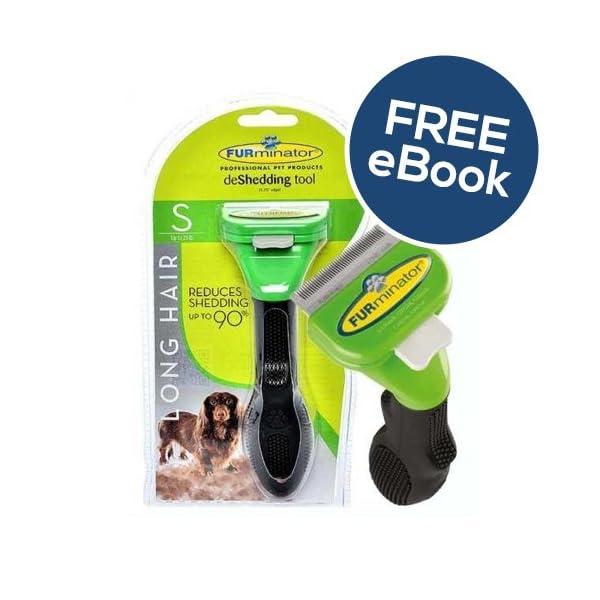 Furminator De Shedding Tool for Small Dogs - Long Hair - INCLUDES EXCLUSIVE FLEA & TICK E BOOK 1
