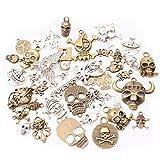 Collana con ciondolo a forma di teschio, in bronzo anticato, stile vintage, per realizzare gioielli fai da te, accessori per costumi e cosplay C