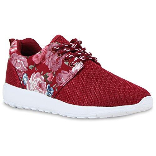 Damen Sportschuhe Laufschuhe Profilsohle Print Runners Dunkelrot Blumen