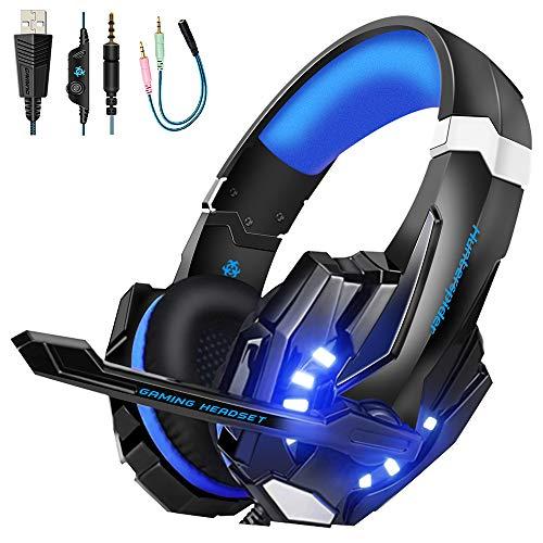 VTAKOL V9 Gaming für PS4, 3.5mm Surround Sound Kabelgebundenes Gaming Kopfhörer mit Mikrofon, LED-Licht, Kopfhörer für Laptop, Xbox one, PC, Smartphone -