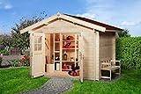 Weka 132.2525.50009 Sparset Gartenhaus Premium45 DT, 250 x 250, inkl. DS rot Außemmaß:300 x 280 x 251