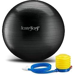 HemingWeigh Ballon d'exercice anti-éclatement Pour stabilité, fitness et yoga Comprend une pompe à pied, Black, 75cm