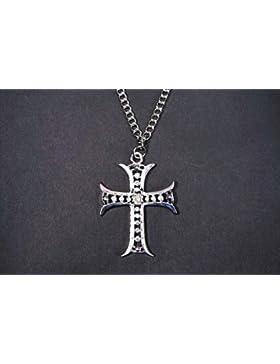 Halskette mit Kreuzanhänger, silberfarben