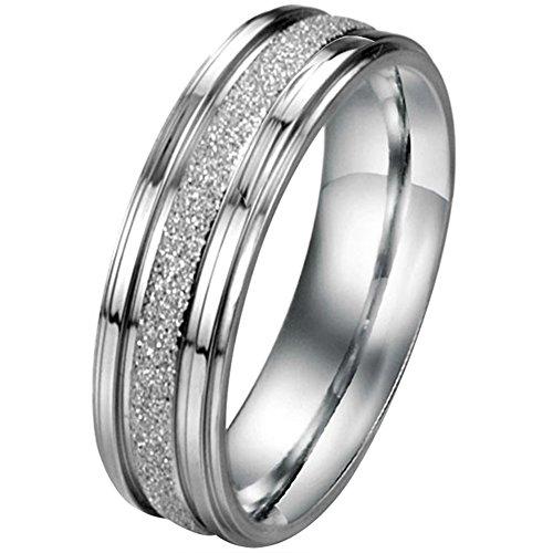 JewelryWe Schmuck 6mm Breite Edelstahl Herren-Ring Partnerringe Sandgestrahlt Hochzeit Band Farbe Silber Größe 76