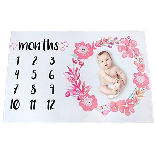 Basumee Baby Fotoshooting Decke Neugeborenen Monatliche Meilenstein Decke Fotografie Requisiten Hintergrund 100cm x 145cm, Blumen Muster