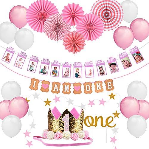 Geburtstagsdeko und Foto Rahmen Girlande Mädchen 1 Jahr Geburtstag Dekorationen 1. Bilder Bunting Banner Set Erster Deko Geburtstag, I AM ONE Banner, Cake-Topper, Kronenhut, Papierfächer und Ballons