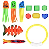 Nabance Tauchen Spielzeug 12Stk Tauchringe Kinder Pool Spielzeug Tauchringe Toypedo Bandits Edelstein Tauchen Spielzeug Sinkende Fische Krake Spielzeug Schwimmbad Spielzeug für Kinder
