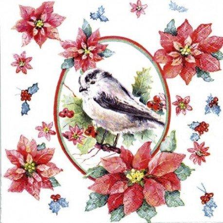 Unbekannt Sigro Star/Vogel Motiv Christmas Servietten, 33x 33cm, Papier, Creme, 33x 33x 30cm Christmas Star Servietten