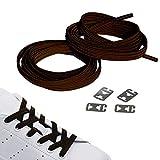 JANIRO Elastische Schnürsenkel flach mit Schnellverschluss |Flexible schleifenlose Schuhbänder ohne Binden | Kinder & Erwachsene (braun)