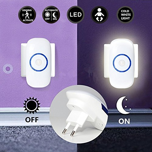 18 Schwarz-licht-lampe (Eastshining LED Nachtlicht mit bewegungsmelder für steckdose energiesparend bewegungssensor steckdosenlicht für Badzimmer Kinderzimmer Korridor Halle Wand Hotelzimmer, kaltweiß)