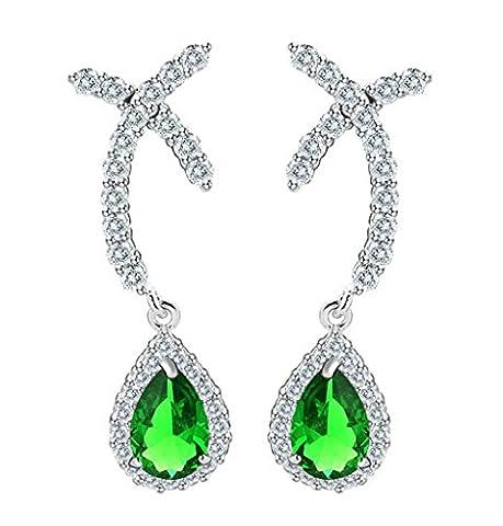 KnSam Boucles d'Oreilles Fantaisie Plaqué Or Blanc Percées Drop Earrings Teardrop X Shape Incrusté Cristal Rhinestone Vert