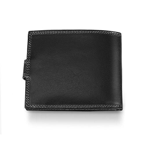 Herren Geldbörse Echte Leder - Portemonnaie für Männer mit Münzfach - Druckknopfverschluss - Geldbeutel mit Taschen für Bargeld Kreditkarten Dokumenten - 12x10x2.5 cm - Coveri Collection - Schwarz