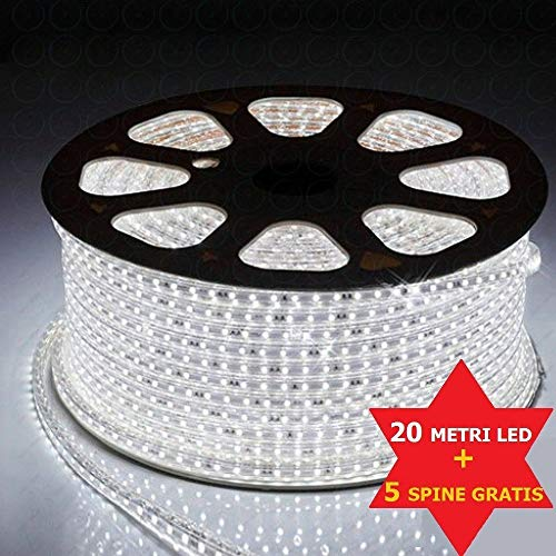 Striscia led 220v bianco 20 metri strip led esterno ed interno flessibile strip led smd 5050 bobina led da esterno luce led da interno striscia led + 5 spine 220v